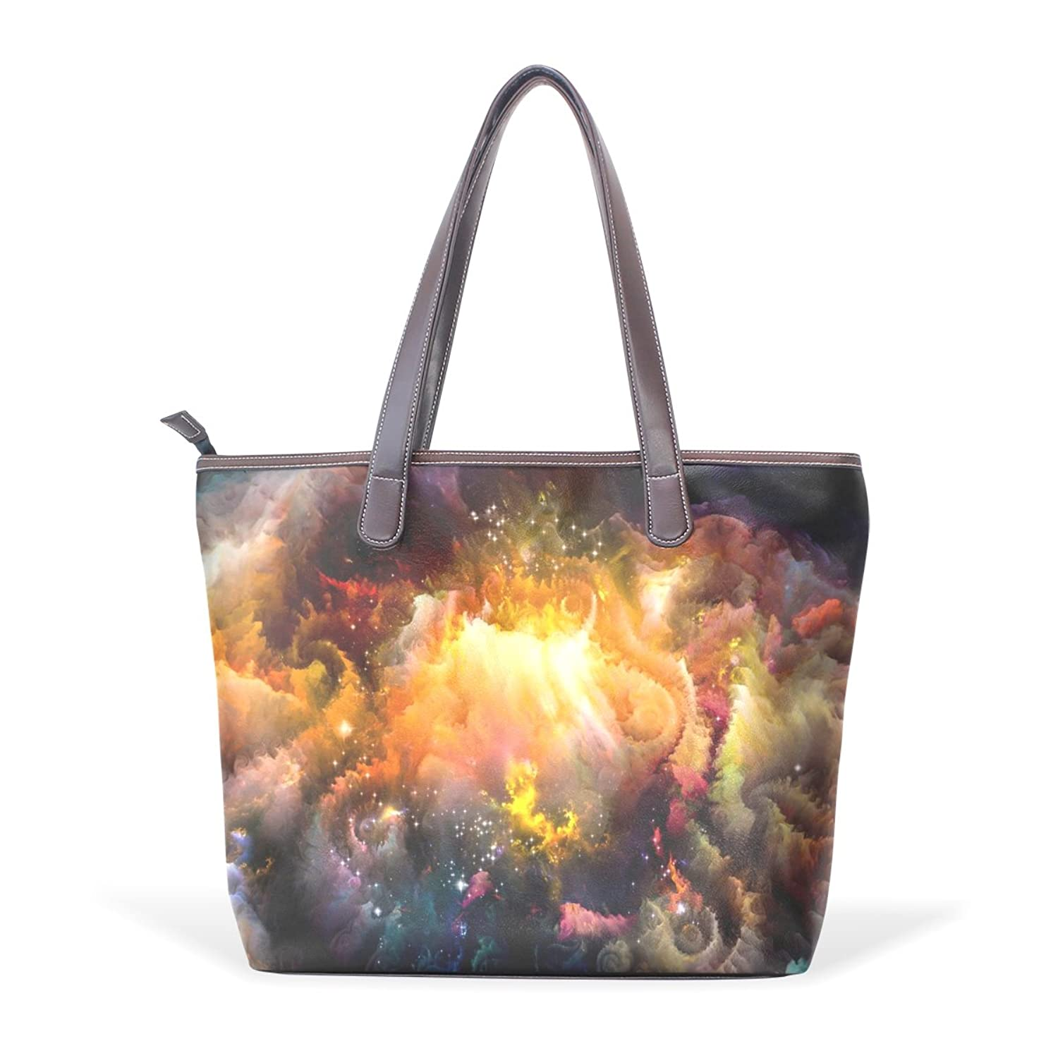 Womens Leather Tote Bag,Universe Galaxy Space Star Meteor,Large Handbag