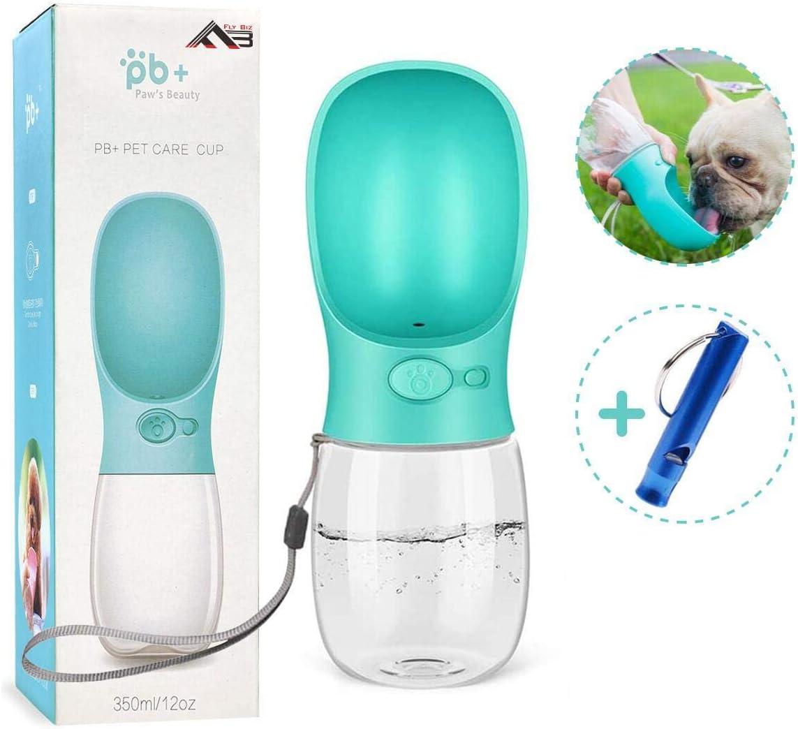Flybiz Botella de Agua para Perro, 350ml Antibacteriano Botella Portátil de Agua Potable para Perros y Gatos al Aire Libre, a Prueba de Fugas, Resina Plástica ABS Ambiental, Libre de BPA