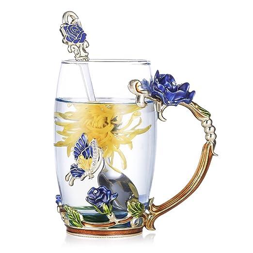 Royal Elegante taza de cristal floral para boda flor de luz, tazas de café con cuchara de cristal hecho a mano con pintura esmaltada, color azul 13.5 OZ ...
