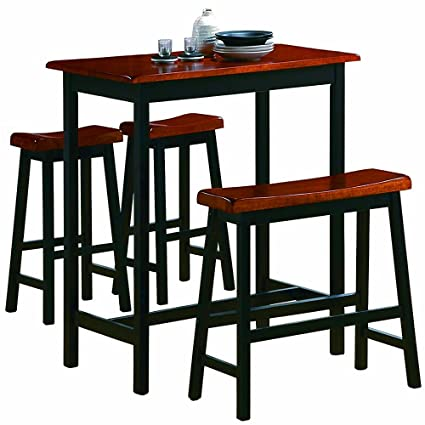 Enjoyable Amazon Com Counter Height Pub Table Set 4 Piece Kitchen Home Interior And Landscaping Dextoversignezvosmurscom