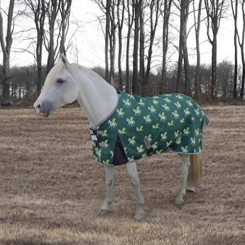 (TuffRider 1200D Ripstop 220 GMS Polyfill Pony Horse Print Standard Neck Two Tone Turnout Blanket)