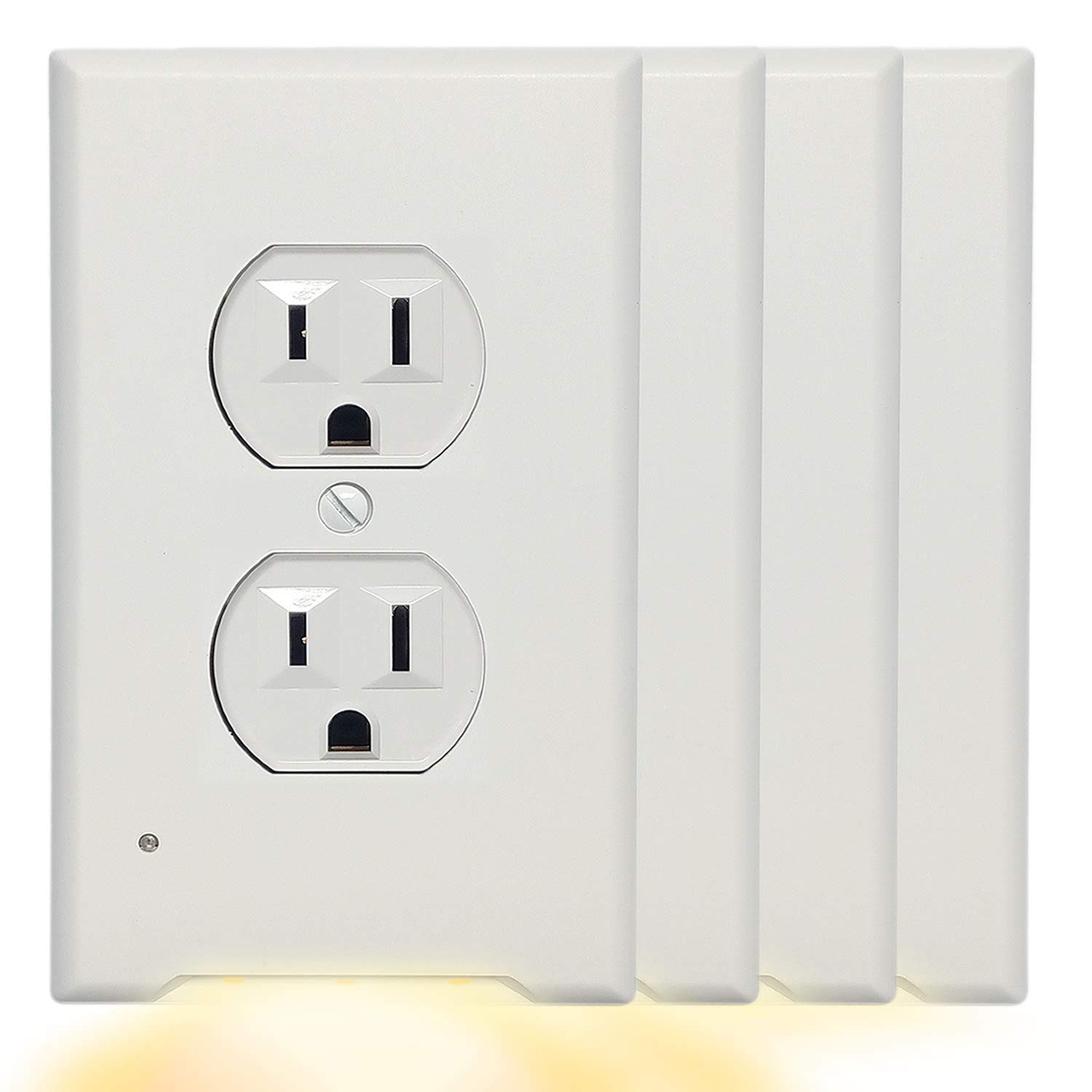 4Pack Wall Outlet Cover Plate With 3000K Warm White LED Night Light-No Wires Or Batteries,Light Sensor Auto Guidelight,Install easy,0.3W High Brightness LED,For Duplex Outlet,Unsuitable Decor,GFCI