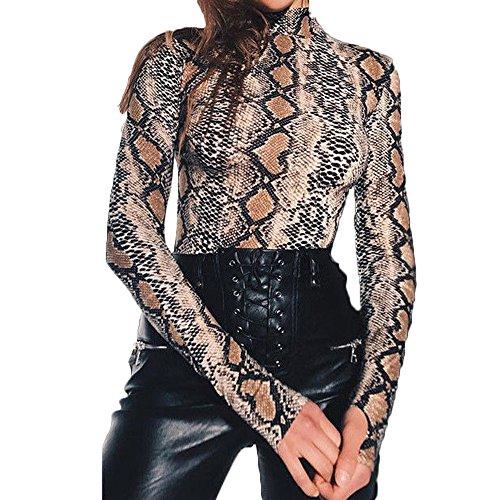 Women High Neck Snake Print Long Sleeve Bodysuit Tops Slim Jumpsuit Playsuit (M, Snake) ()