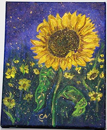 Sunflowers on Purple Background Original Acrylic Painting on 8