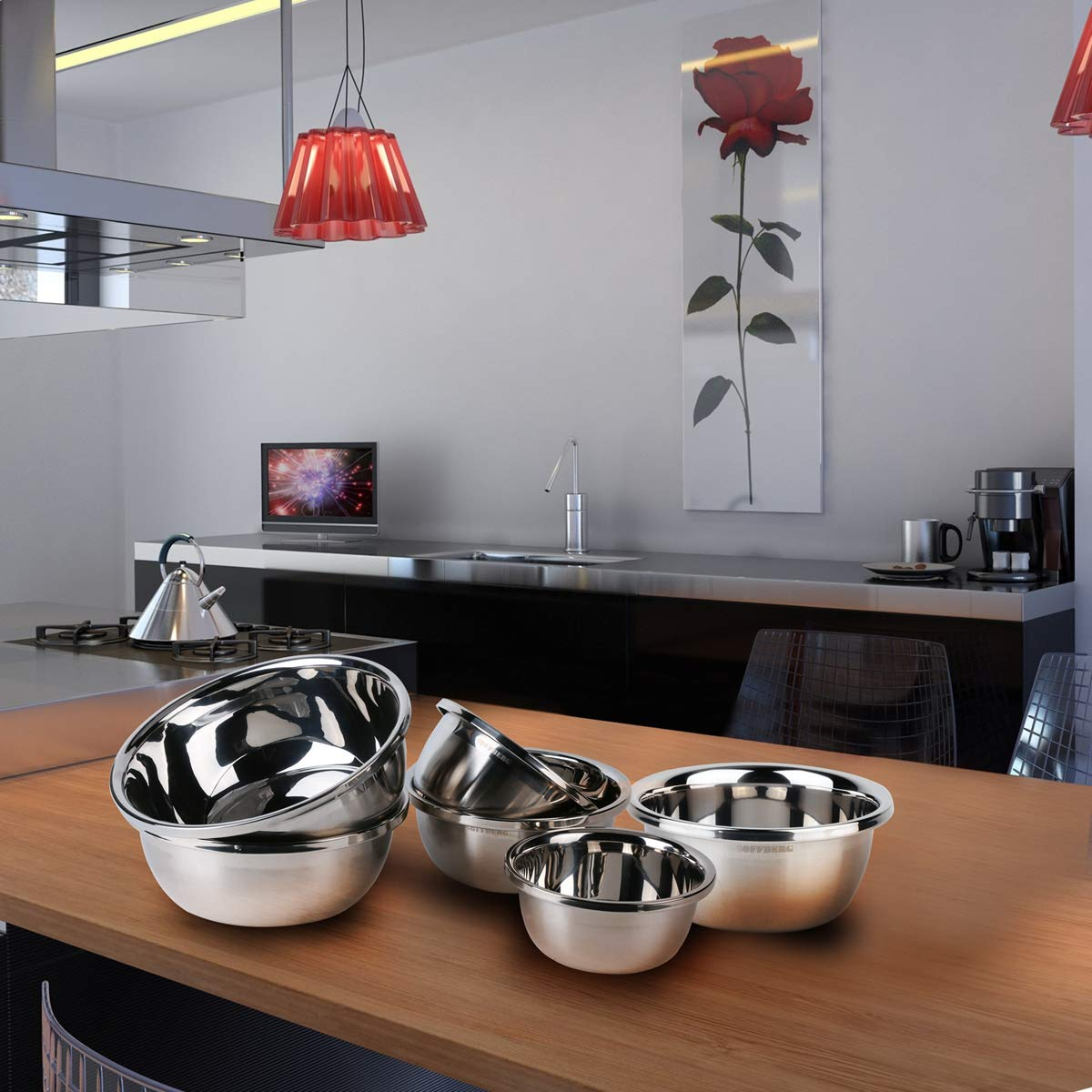 Set of 6 Mixing Bowls Stainless Steel Nesting and Convenient Storage for Meal prep, Salad, Cooking, Baking, Serving by SOFFBERG (Image #7)