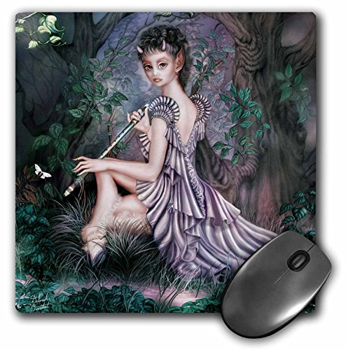 3dRose LLC 8 x 8 x 0.25 Inches an Mythical Elf Creature of The Forest Who Plays a Haunting Melody on an Enchanted Flute Mouse Pad (mp_11646_1) ()