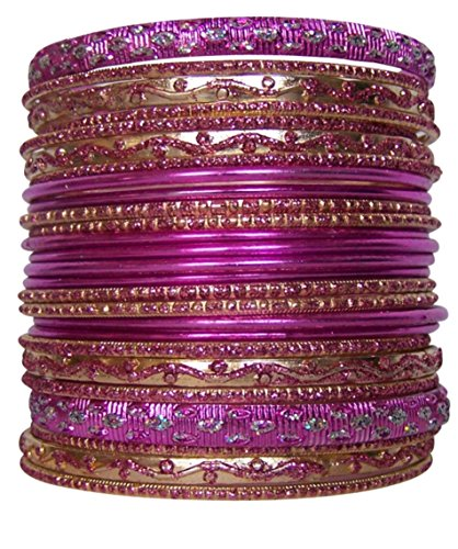 Traditional Womens Bracelets (Set of Pink Bangle Bracelets for Women)