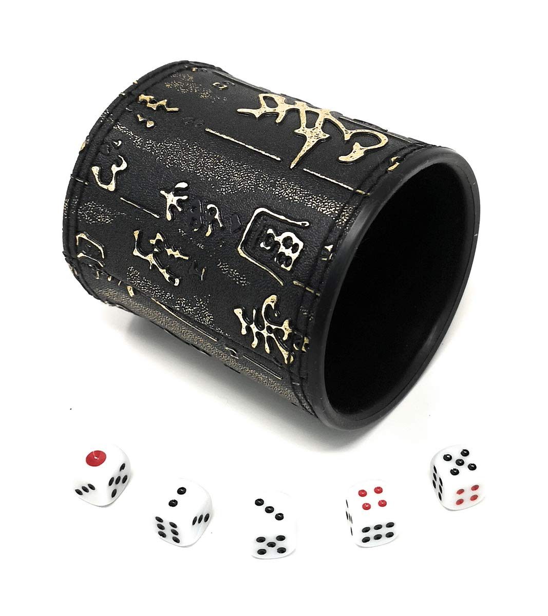 Backgammon or other Dice Games Chinese Calligraphy Design THY TRADING THY COLLECTIBLES Dice Cup with 5 Dices PU Leather Professional Dice Shaker Cup Set for Yahtzee Craps