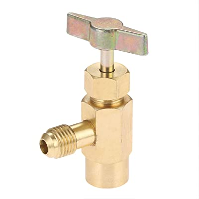 R1234YF Self-Sealing Can Tap with Left Hand Threaded, 1/2'' Acme to 1/4'' SAE Dispenser Valve AC Refrigerant Bottle Opener, Fits for R1234YF Automotive Air Conditioning Charging: Automotive