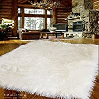 Fur Accents Large Faux Sheepskin Shag Area Rug - Accent Throw Rug - Thick - Plush - Natural Ivory White - Rectangle - Ultra Suede Non Slip Back Premium Bonded Faux Fur (8x10)