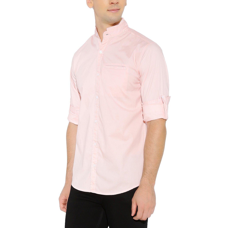 5c94d10b Amazon.com: Nick&Jess Mens Pink Mandarin Collar Slim Fit Cotton Lyrca Shirt:  Clothing