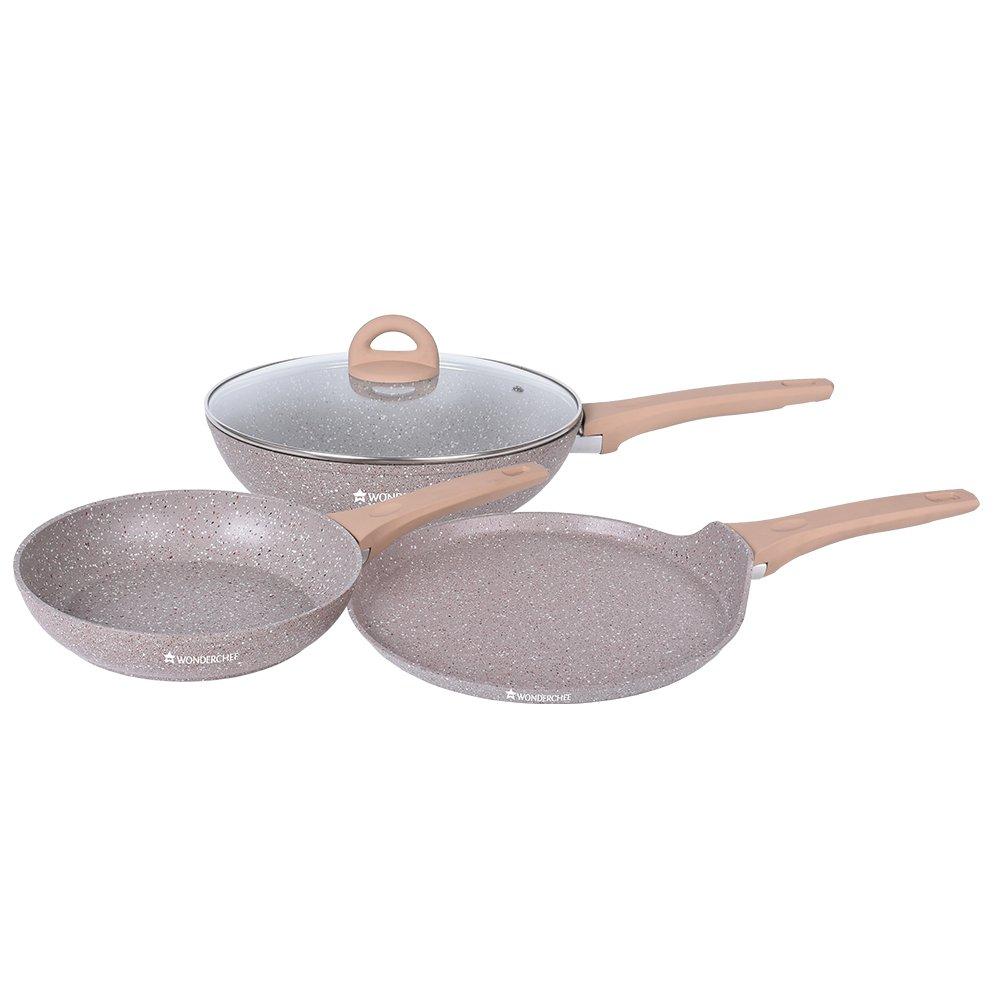 Wonderchef Cream Marble Aluminium Cookware Set, 1.7