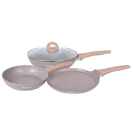 Wonderchef Cream Marble Aluminium Cookware Set, 1.7 Liters/24 cm, 4-Pieces, Cream Pot & Pan Sets at amazon