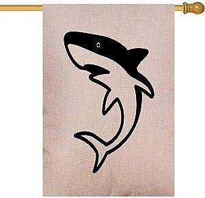 EMMTEEY Cute Shark Fin House Flags 28x40 Double Sided Seasonal Burlap Outdoor Decoration for Kids Outdoor House Flag Shark Icon Logo Clip Art Dolphin Tail Whale Fin Character Cartoon