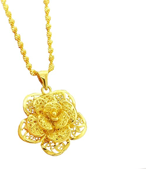 """Women/'s Flower Pendant Necklace 18k Yellow Gold Filled Charms Chain 18/"""" Link"""