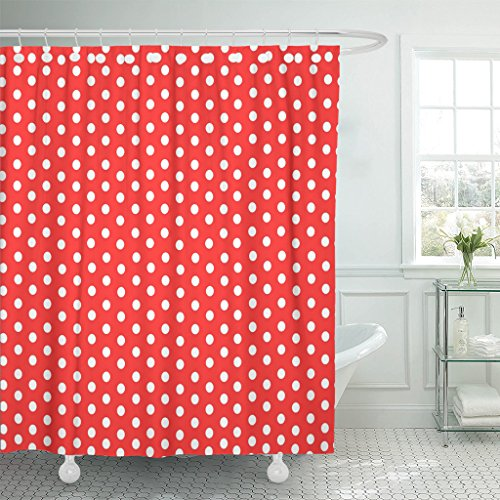VaryHome Shower Curtain Colorful Polkadot Polka Dot Red White Pattern Spot Abstract Waterproof Polyester Fabric 72 x 72 inches Set with Hooks