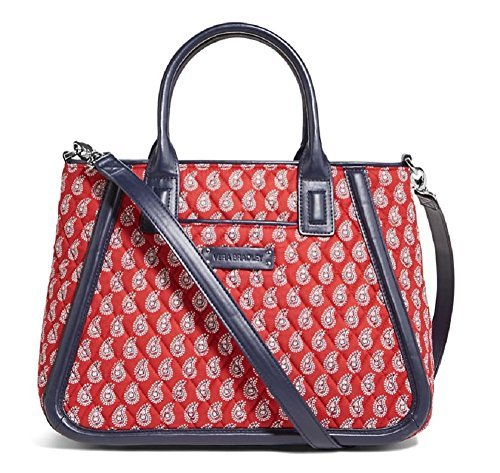 (Gorgeous Vera Bradley Trimmed Trapeze Satchel Handbag in Petite Red Bandana P...)