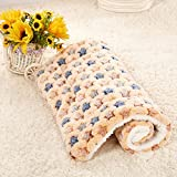 Daisy1993 Star Print Ultra Soft Coral Fleece Pet Sleeping Bed Mat Blanket for Cats and Dogs (XL(39.3''x29.5''), Brown)