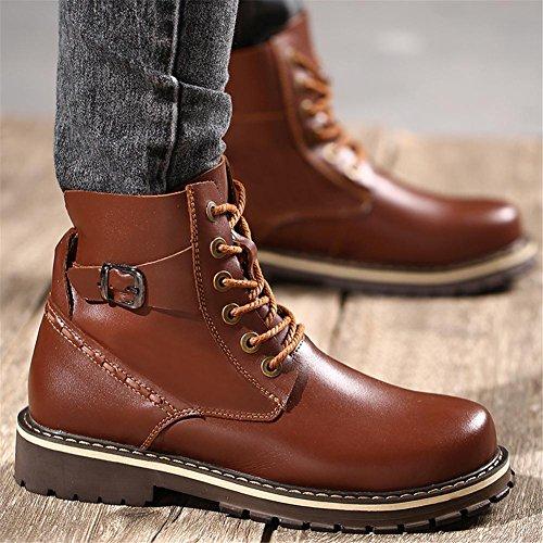 Hombres Ejército Botas Ocio Cuero Zapatos Otoño Invierno Cómodo Más Cachemira Mantener Calentar Grande tamaño 37-47 Brown