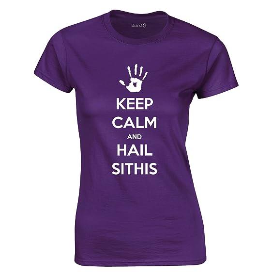 Keep Calm and Hail Sithis, Gedruckt Frauen T-Shirt - Lila/Weiß M