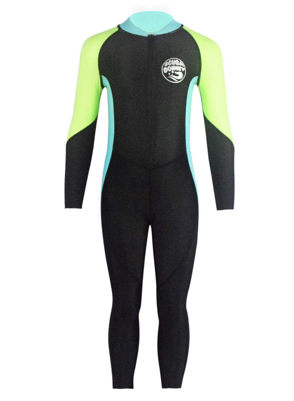 Boys Scuba Diving Suit Warm Long Sleeve Full Body High Elastic Splice Quick Drying Swimwear 8-9T Black/Blue by SCUBA DONKEY