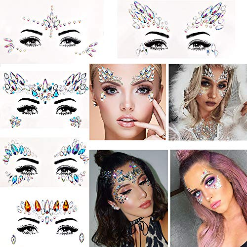10 Set Face Gems Stickers Breast Body Jewelry Stickers for Face Body Makeup, Eyxformula Face Gems Rhinestones Crystal Nipple Sticker Reusable Self-adhesive Tattoos for Festival Rhinestone Decorations