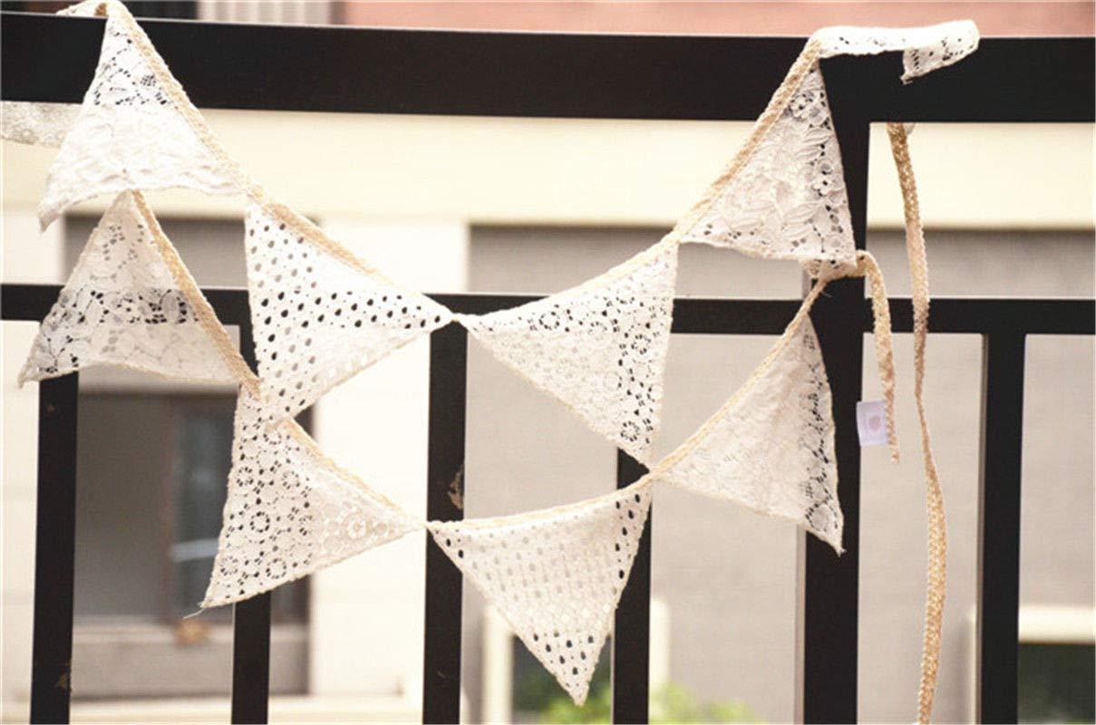 FidgetFidget Banner Flags Wedding Pennant Birthday Party Decoration Lace 10pcs/lot