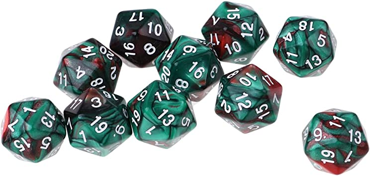 D DOLITY Dados D20 de Acrílico 20 Caras para Juego de rol Juego de Mesa (10 Unids) - Cafe Verde: Amazon.es: Juguetes y juegos
