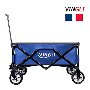VINGLI Portable Heavy Duty Sports Collapsible Utility Wagon,Sturdy Outdoor Folding Garden Shopping Cart, Steel Frame All Terrain Portable for Beach Park Camping Patio Compact on Wheels (Blue)