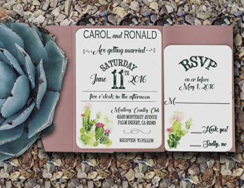 Pocket Wedding Invitations/Rustic Wedding Invitations/Handmade Wedding Invitations/Wedding Invitations Set/ 100 by Social Stationery