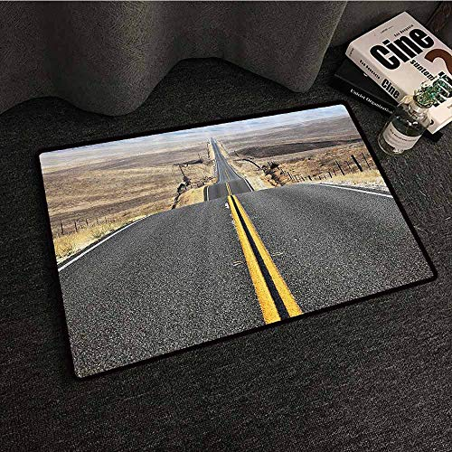 Americana Landscape Decor Welcome Door mat Pacific Coast Highway on The Road Trip to Endless Desert Western Photo Suitable for Outdoor and Indoor use W30 xL39 Grey