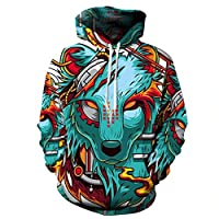QJH Lion Painting Galaxy Print Sweatshirt Unisex Realistic 3D Digital Hooded Hoodie