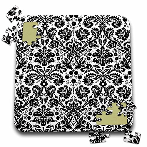 3dRose InspirationzStore Damask Patterns - Black and White Damask - Stylish Swirling French Floral - Vintage Modern Elegant Wallpaper Swirls - 10x10 Inch Puzzle (Swirl Vintage Wallpaper)