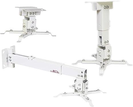 TALLA 43-65cm. Luxburg® Suporte Universal de Aluminio para Proyector (montaje de techo o mural) carga maxima 15kg 30 grados, 43-65cm, - - blanc