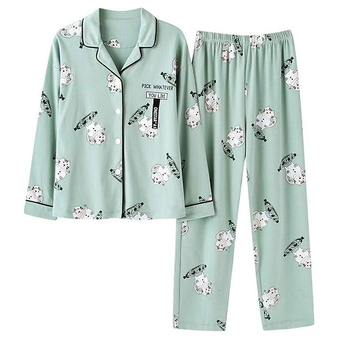 Mmllse Prendas De Algodón para Mujeres Juegos De Pijama Pijamas De Manga Larga para Niñas Vestirse para Dormir Ropa De Dormir Estampado De Gato Verde ...