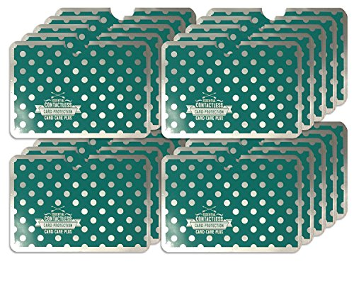 20 x Turquoise Polkadot RFID NFC Blocking Card Clash Anti Scan Protectors for your Credit Cards