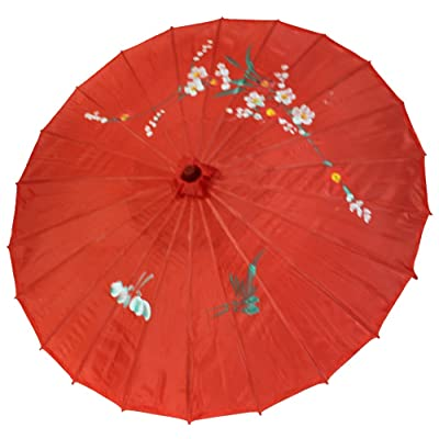 """32"""" SILK ASSORTED RED PARASOL WITH COLORFUL FLOWERS"""