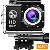 Wewdigi EV5000 Action Camera, 12MP 1080P 2 Inch LCD Screen, Waterproof Sports Cam 140 Degree Wide Angle Lens, 30m Sport Camera DV Camcorder with 10 Accessories Kit (Black) (1080p)