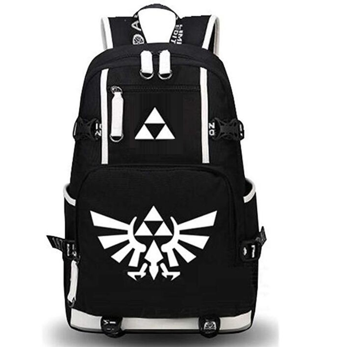 NSOKing Hot Legend of Zelda Triforce Cosplay Student Travel Backpack Bag (Length 13'' Height 17.3'' Width 5.9'', Black)