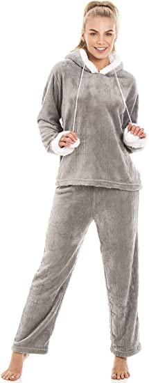 Camille lujo Gris Supersuave Fleece con capucha pijama Set