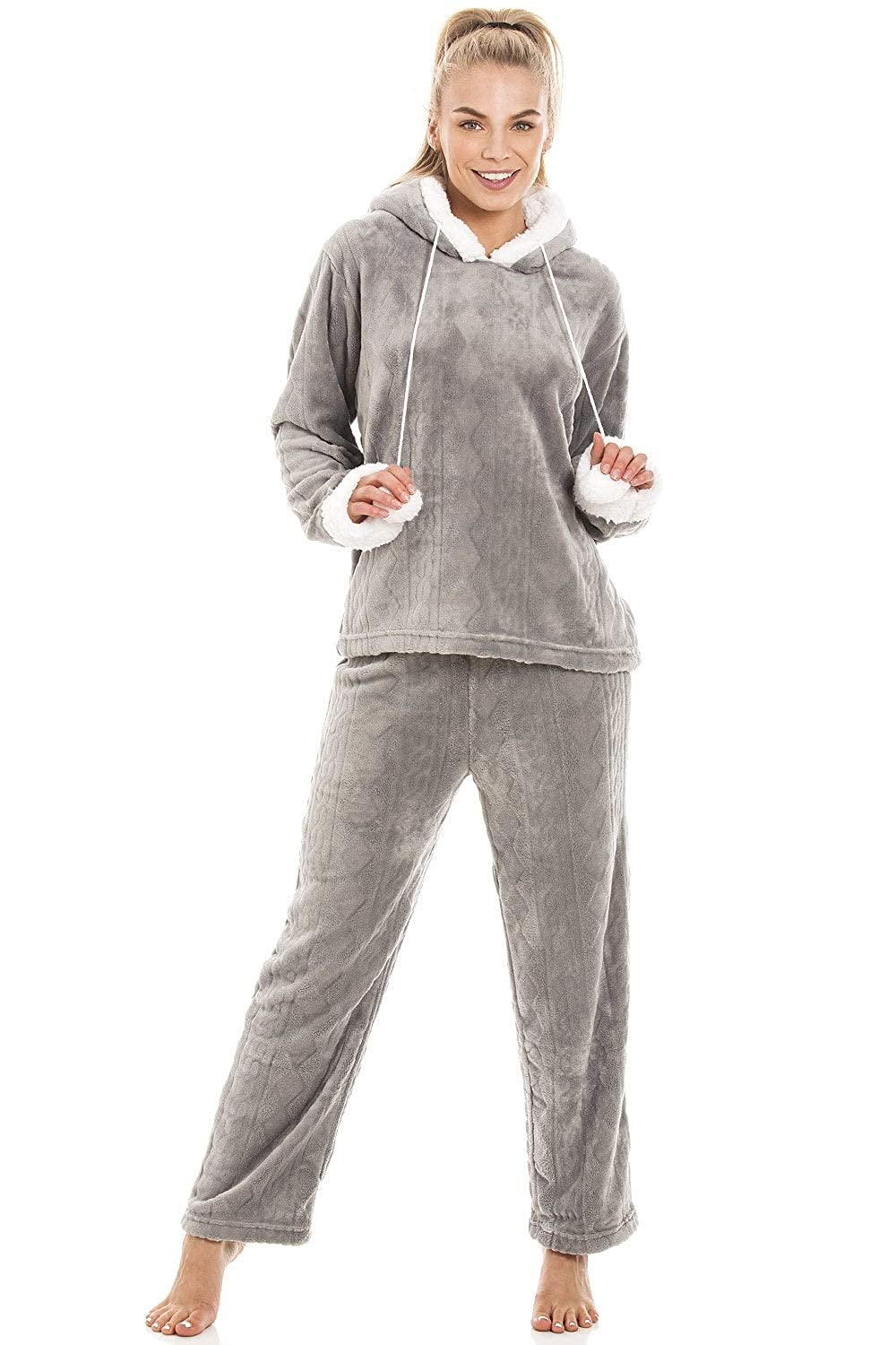 Camille Womens Luxury Supersoft Fleece Hooded Grey Pyjama Set