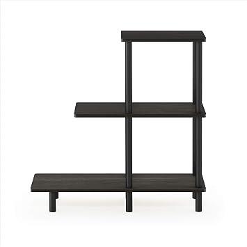Furinno Turn-N-Tube U Shape Sofa Side Table with Casters Espresso//Black
