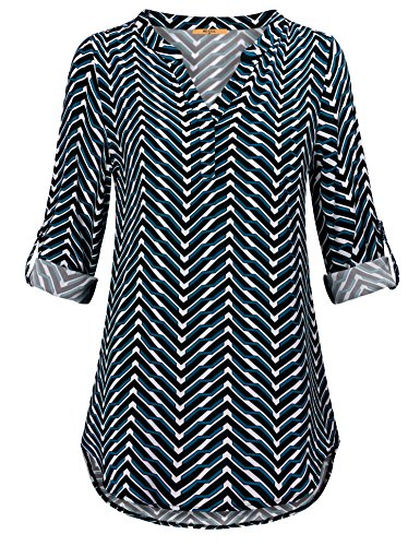 MCKOL Blouses for Women, Long Sleeve V Neck Geometric Chiffon Curved Hem Casual Business Tunic Tops(Dark (Geometric Print Top)