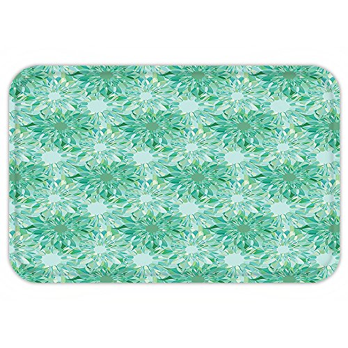 VROSELV Custom Door MatTurquoise Decor Floral Pattern With Beryl Crystal Guilloche FlowerCarving Art Decorating Image Print Decor Green (Guilloche Pattern)