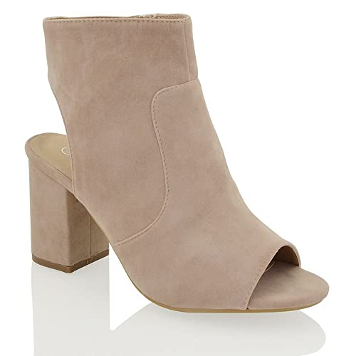 239ce49a8673 ESSEX GLAM Womens Mid Heel Block Peep Toe Open Back Ladies Cut Out Zip  Ankle Shoe Boots 3-8  Amazon.co.uk  Shoes   Bags
