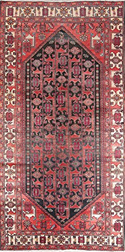 One-of-A-Kind Meshkin Tribal Handmade 5x10 Black Wool Antique Persian Oriental Area Rug (9' 11