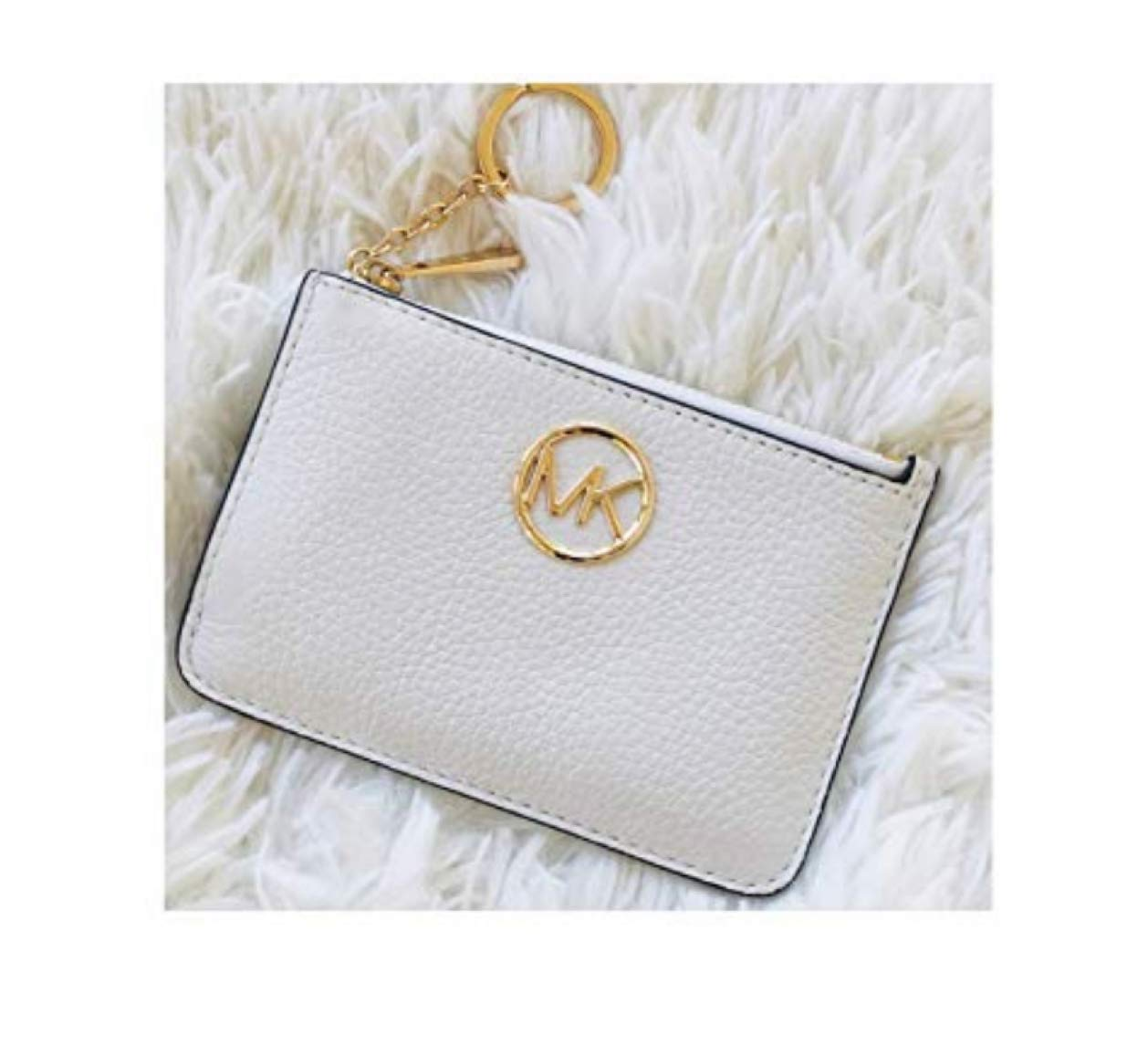 Michael Kors Fulton Small Coin Pouch Mini Wallet Key Chain White by Michael Kors