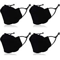 4 Pcs Reusable 4 D Cloth Face Cover With Nose Wire for Adult or Kids. Washable, Adjustable, Breathable.