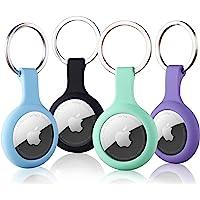 Paquete de 4 fundas de silicona para Airtags con llavero, cubierta protectora para Apple Air Tag GPS Tracker, collar de…