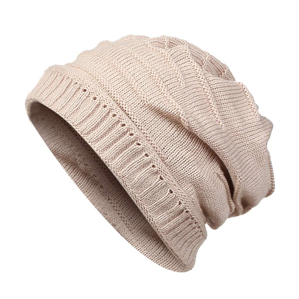 FarJing Unisex Pullover Hat Autumn Winter Outdoor Travel Warm Knit Hat Wool Caps(Beige